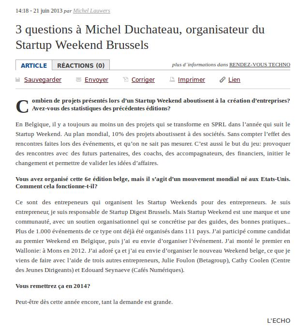 Michel Duchateau, L'Echo 2013-06-24